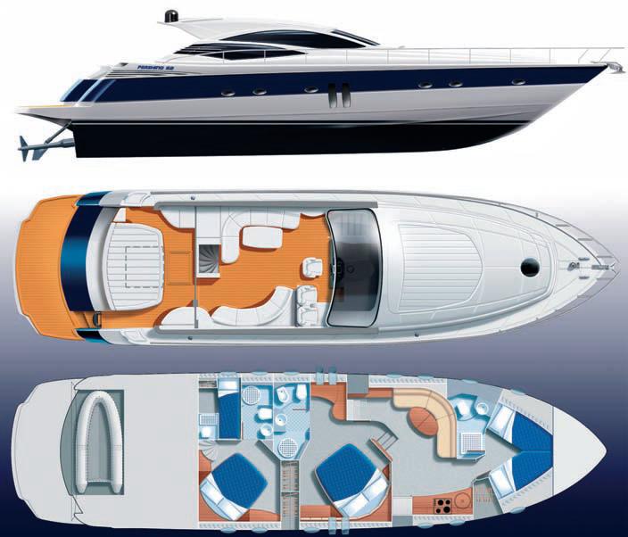 Общее расположение моторной яхты