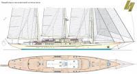 Общий вид и план верхней палубы яхты