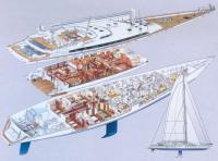 Планировка и схема общего вида яхты