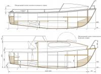 Продольный разрез рабочего варианта лодки Раббот-53