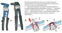 Ручной рычажный пистолет и схема готового соединения