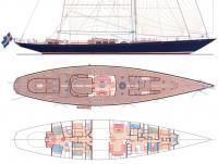 """Схема общего вида и планировка яхты """"Maria Cattiva"""""""