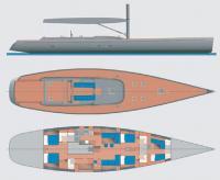 """Схема общего вида и планировка яхты """"Y3K"""""""