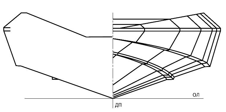 Теоретический чертеж мотолодки